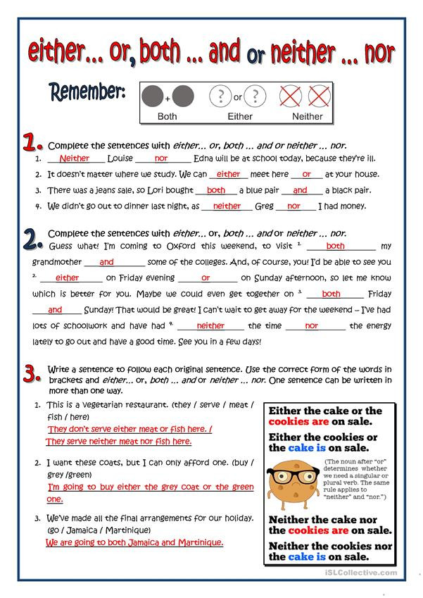 Correlative Conjunctions Worksheet 5th Grade Both Either Neither English Esl Worksheets for