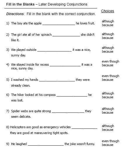 Correlative Conjunctions Worksheet 5th Grade Conjunctions