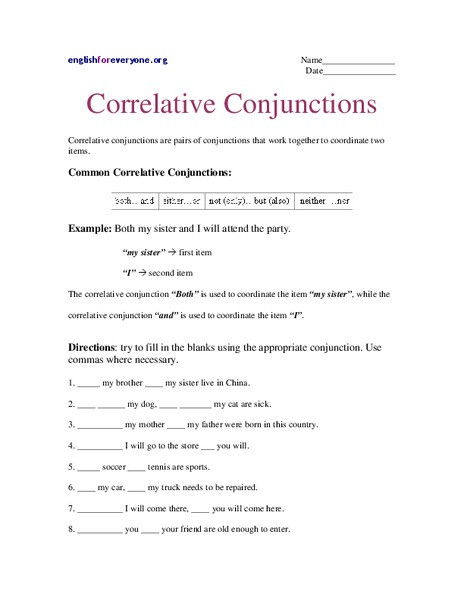 Correlative Conjunctions Worksheet 5th Grade Correlative Conjunctions Worksheet for 6th 9th Grade