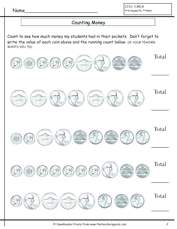 Counting Coins Worksheets 2nd Grade Counting Coins and Bills Worksheets Count the Money