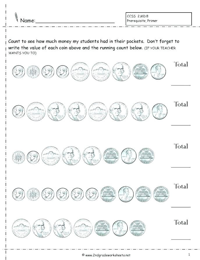 Counting Coins Worksheets 2nd Grade Counting Coins and Bills Worksheets Free Printable Counting