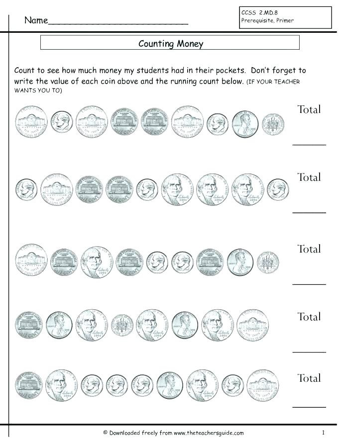Counting Coins Worksheets First Grade Count Coins Worksheet Counting Money Bills and Coins