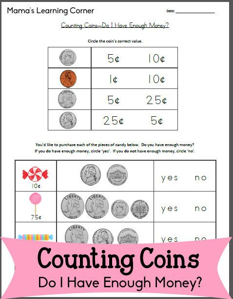 Counting Coins Worksheets First Grade Counting Coins Worksheet – Do I Have Enough Money