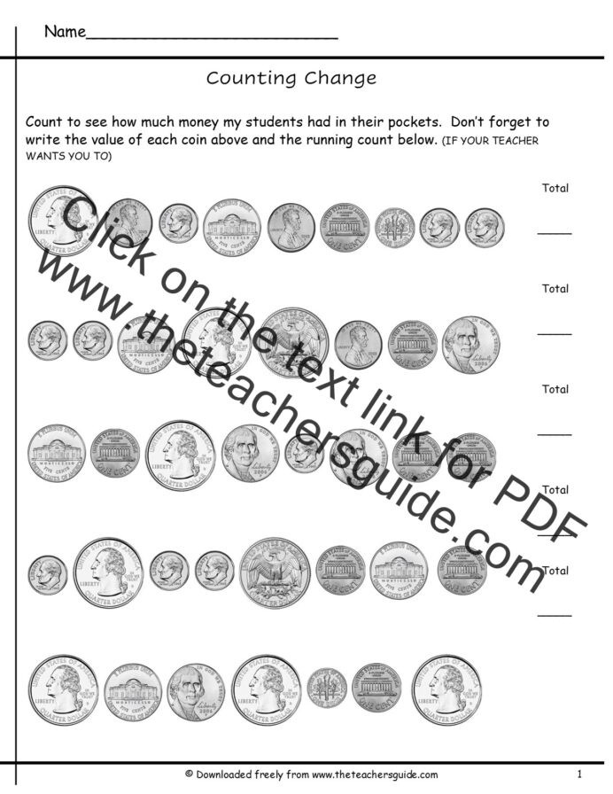Counting Coins Worksheets First Grade Counting Coins Worksheets From the Teacher Guide Teaching