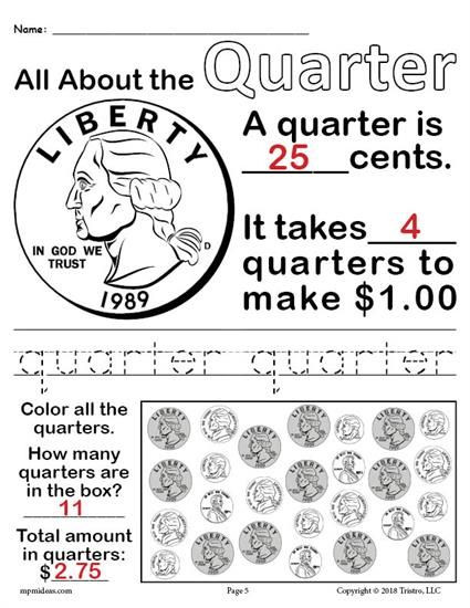 Counting Coins Worksheets First Grade Free Printable Quarter Worksheet Learn All About the