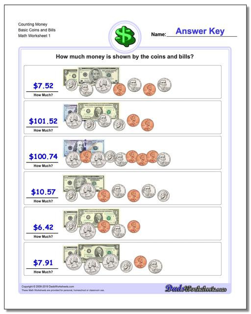 Counting Coins Worksheets First Grade Money Coins Worksheets 1st Grade Counting Basic and Bills V1