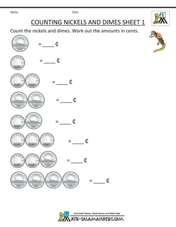 Counting Coins Worksheets First Grade Money Worksheets for First Grade Girisx 1st Worksheet Ideas
