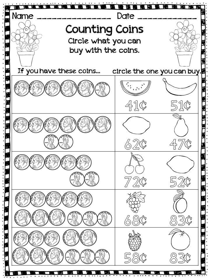Counting Coins Worksheets First Grade Pin by Self Sufficient Kids On Money Games for Kids