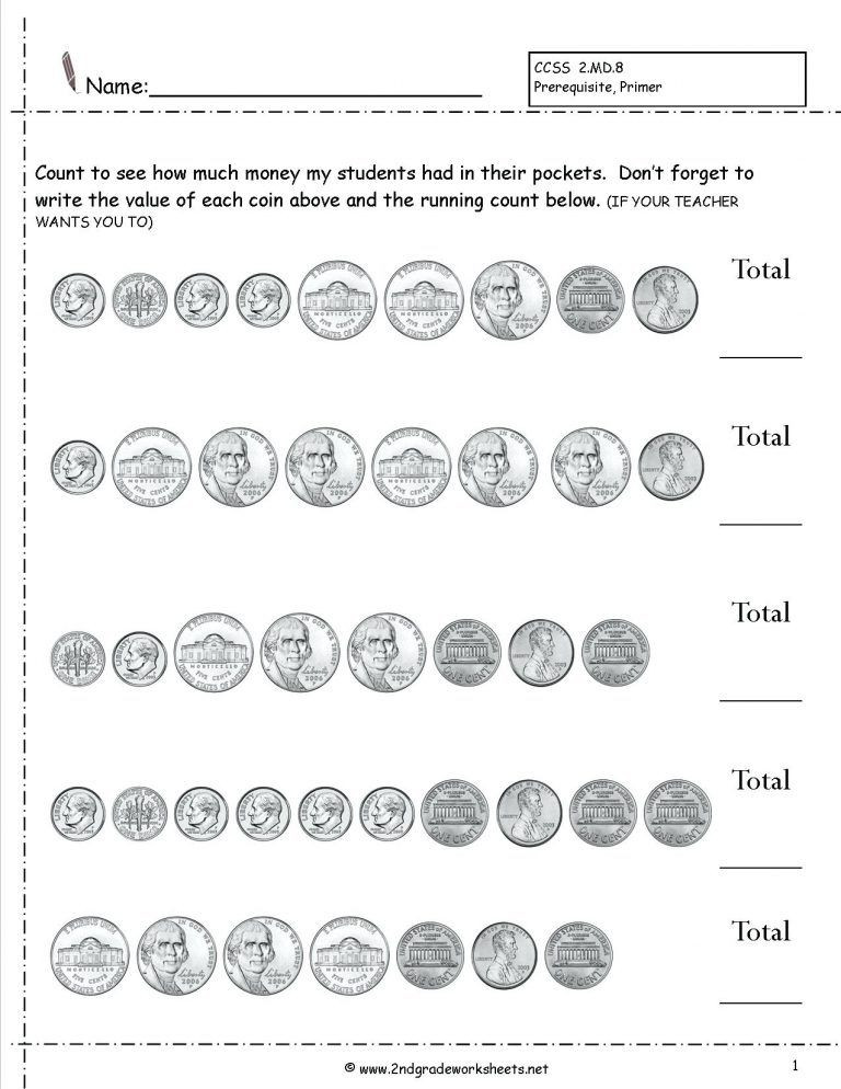 Counting Coins Worksheets First Grade Pin On for Addyson