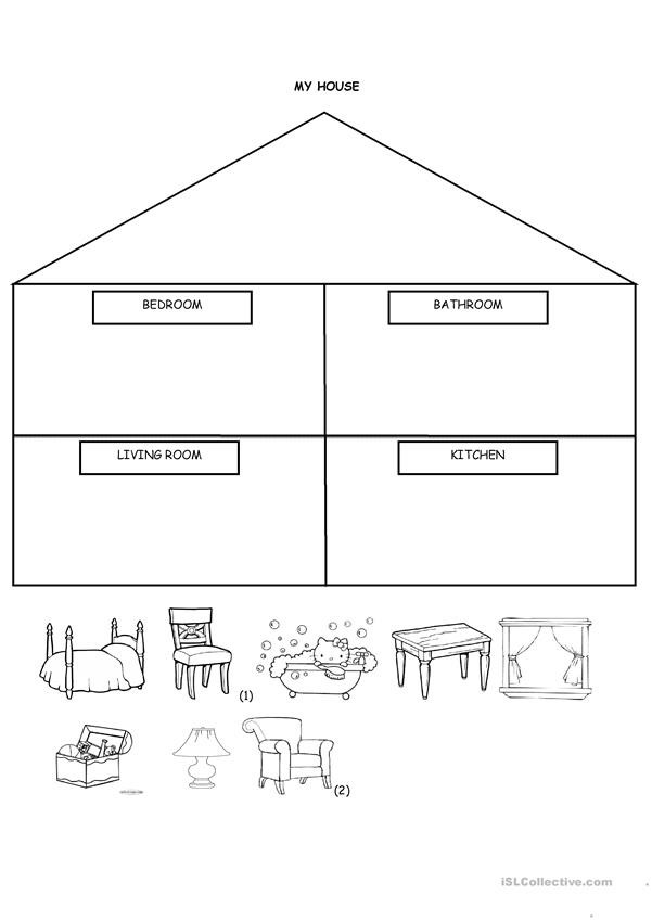 Cut and Paste Worksheets Kindergarten My House Cut and Paste English Esl Worksheets for