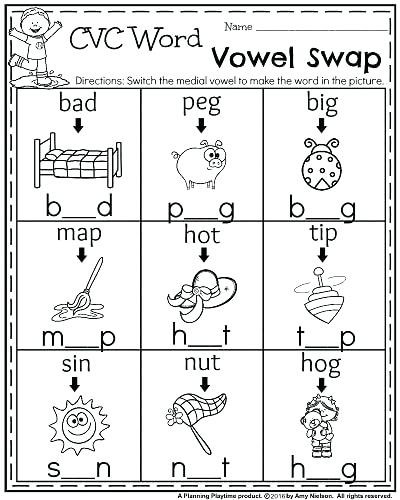 Cvc Worksheets Kindergarten Free Cvc Words Kindergarten 3 Letter Words for Kindergarten