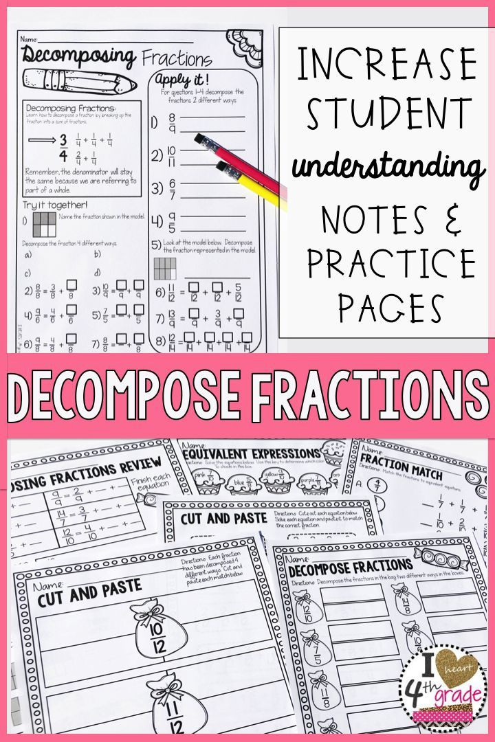 Decomposing Fractions Worksheets 4th Grade De Pose Fractions Ccss 4 B 3b with Images