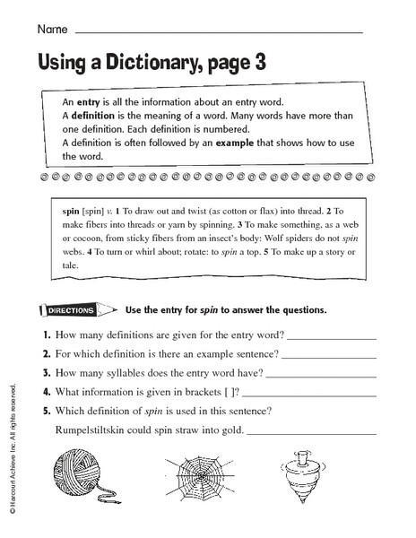Dictionary Skill Worksheets 3rd Grade Using A Dictionary Page 3 Worksheet for 3rd 4th Grade