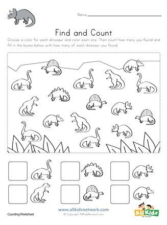 Dinosaur Worksheets Kindergarten Dinosaur Find and Count In 2020