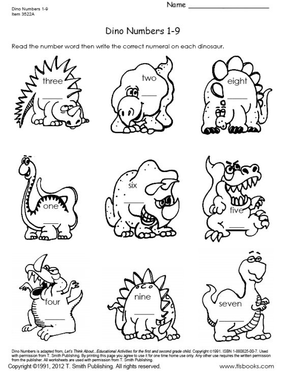 Dinosaur Worksheets Kindergarten Dinosaur Numbers 1 18