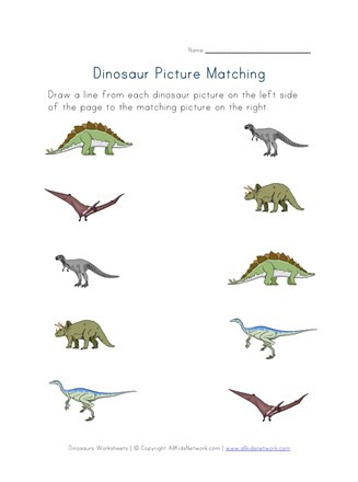 Dinosaur Worksheets Kindergarten Dinosaurs Matching Worksheet