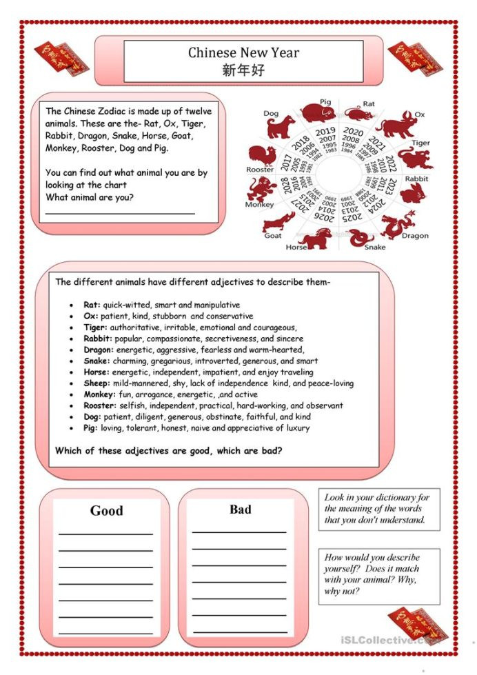 Dot Plot Worksheets 6th Grade Chinese New Year English Esl Worksheets for Distance