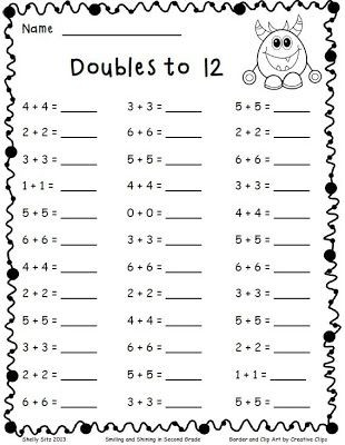 Doubles Math Fact Worksheets Adding Doubles and A Freebie Smiling and Shining In Second