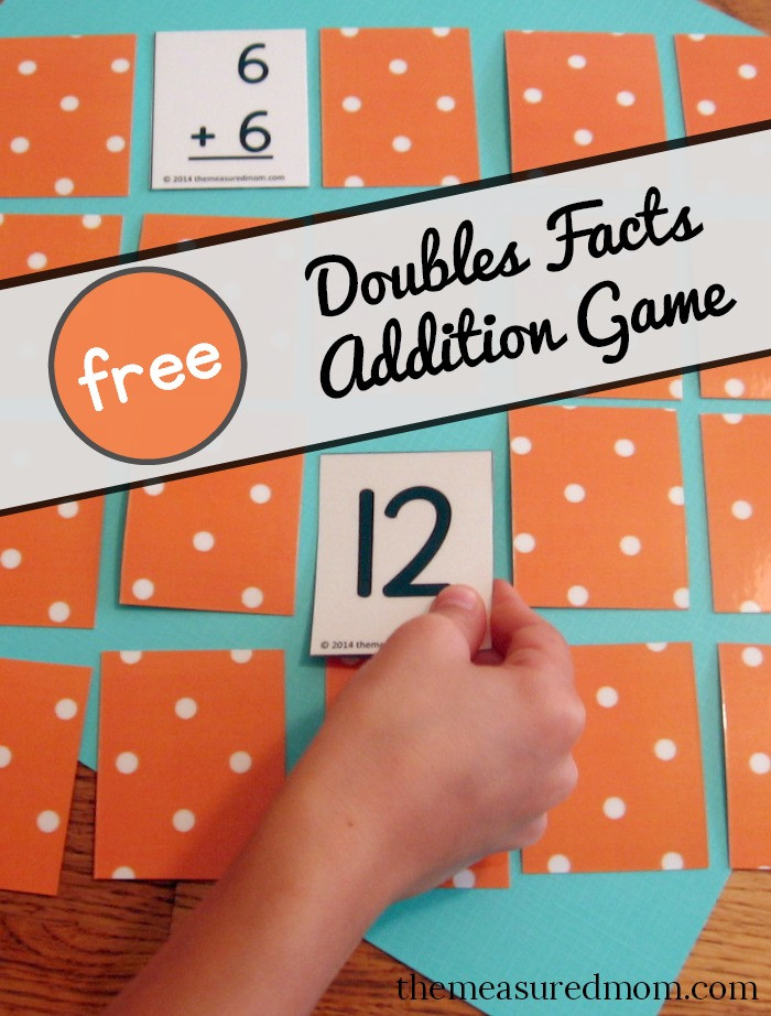 Doubles Math Facts Worksheets Free Addition Game for the Doubles Facts the Measured Mom