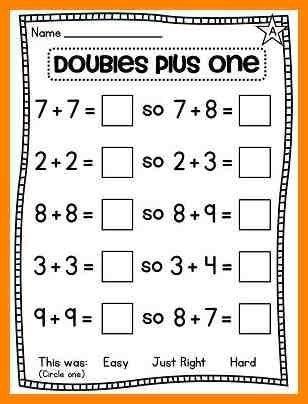 Doubles Math Worksheet Math Worksheets On Doubles Plus One