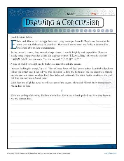 Drawing Conclusions Worksheets 4th Grade Drawing A Conclusion Worksheets