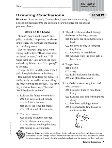 Drawing Conclusions Worksheets 4th Grade Drawing Conclusions Worksheet for 3rd 4th Grade