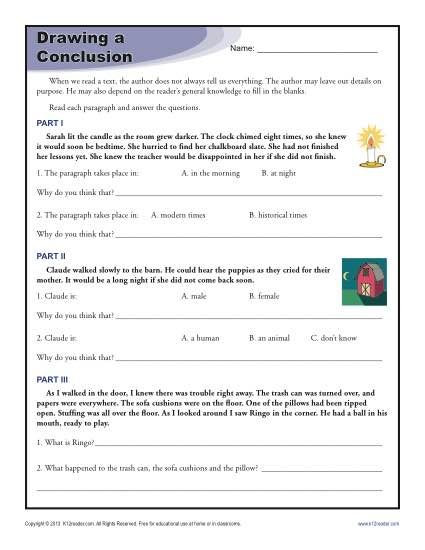 Drawing Conclusions Worksheets 4th Grade Drawing Conclusions Worksheets for 4th Grade