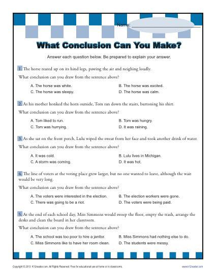 Drawing Conclusions Worksheets 4th Grade What Conclusion Can You Make