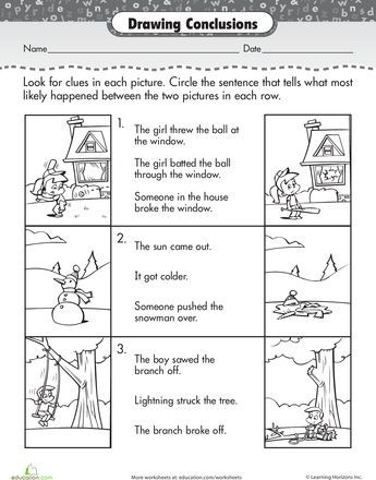 Drawing Conclusions Worksheets 4th Grade Worksheets Story Prehension Drawing Conclusions