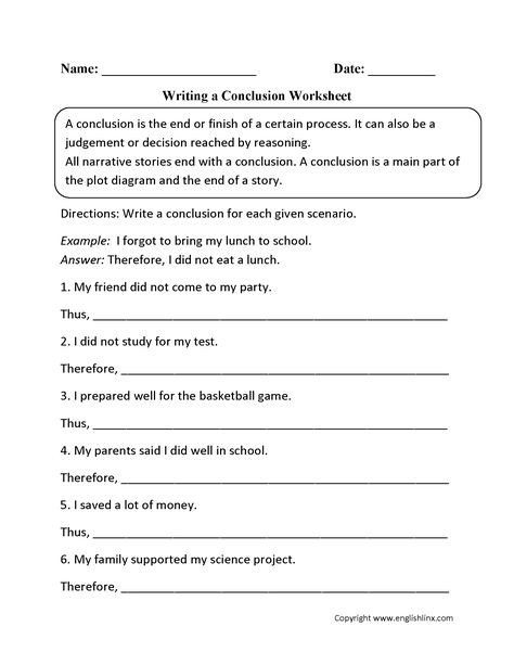 Drawing Conclusions Worksheets 4th Grade Writing A Conclusion Worksheets