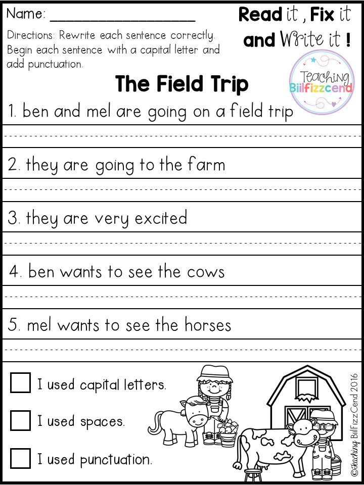 Editing Worksheet 2nd Grade Free Fix It Up Sentences