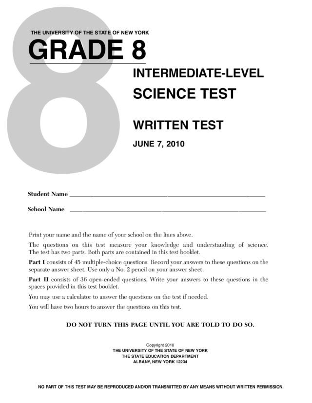 Eighth Grade Science Worksheets Grade 8 Science Test New York State University Worksheet