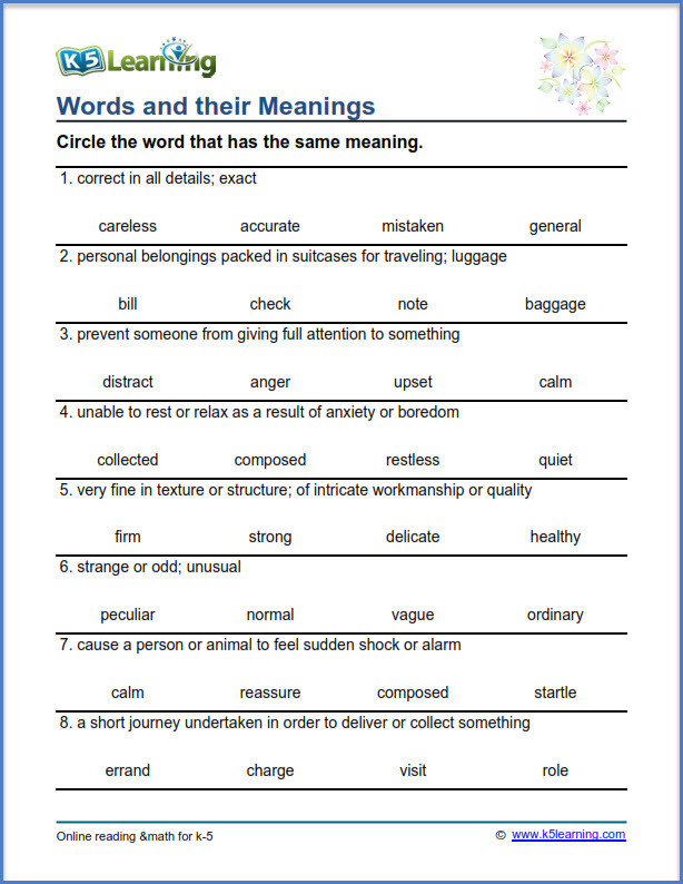 Eighth Grade Vocabulary Worksheets Grade Vocabulary Worksheets Printable and organized by