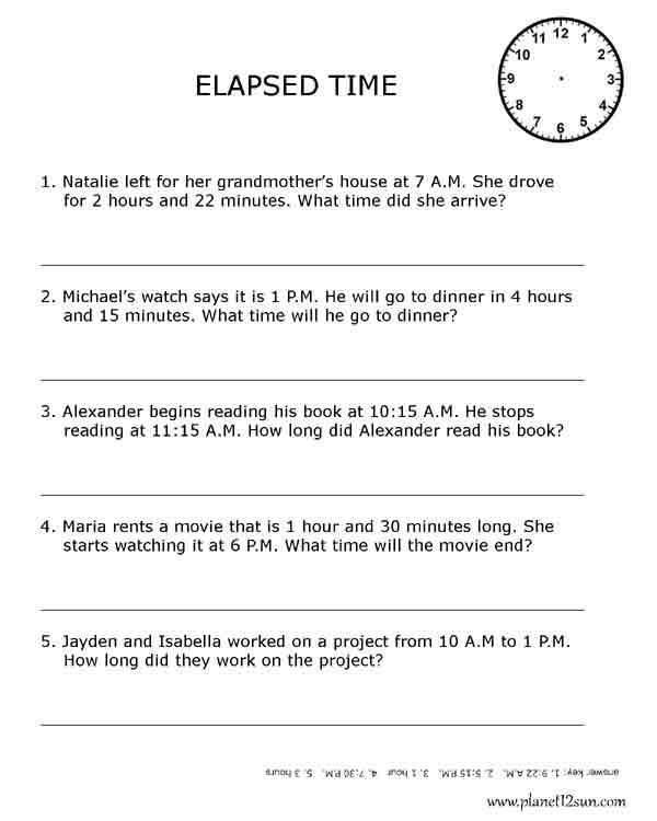 Elapsed Time 3rd Grade Worksheets Elapsed Time 3rd Grade
