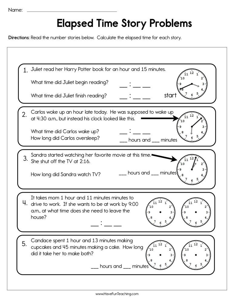 Elapsed Time 3rd Grade Worksheets Elapsed Time Story Problems Worksheet