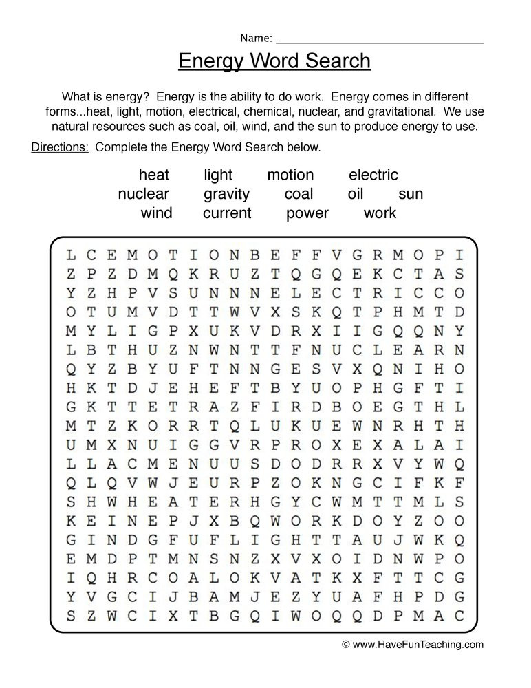 Energy 4th Grade Worksheets Energy Wordsearch Worksheet