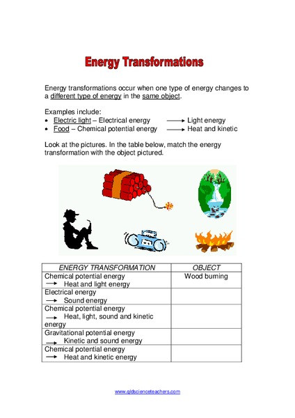 Energy Worksheets for 4th Grade Energy Transformations Worksheet for 4th 8th Grade