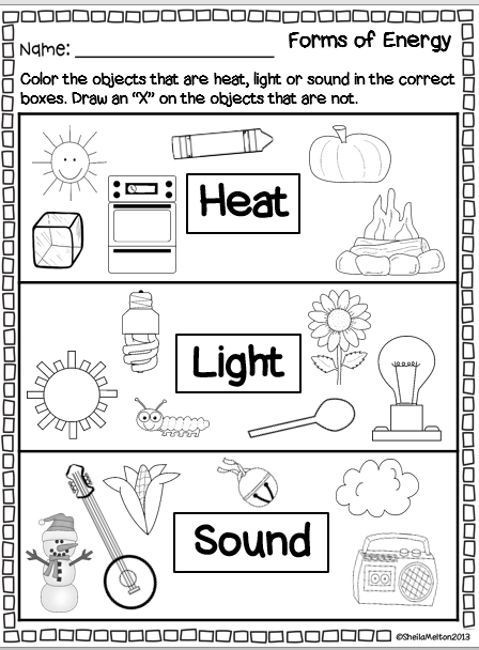 Energy Worksheets for 4th Grade forms Of Energy Heat Light sound