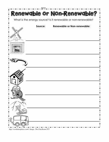 Energy Worksheets for 4th Grade Renewable or Non Renewable Energy Worksheets
