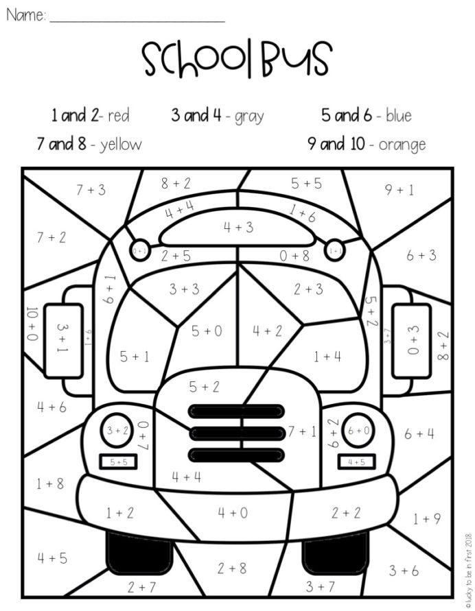 Equivalent Fractions Coloring Worksheet Back to School Color by Code theme Ideas Printables Lucky In