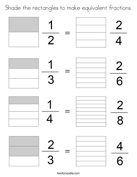 Equivalent Fractions Coloring Worksheet Shade the Rectangles to Make Equivalent Fractions Coloring