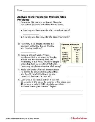 Estimating Products Worksheets 4th Grade Multiple Step Word Problems Addition Subtraction Printable