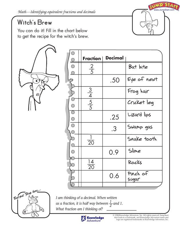 "Estimating Products Worksheets 4th Grade Witch S Brew"" – 4th Grade Free Math Worksheet On Fractions"