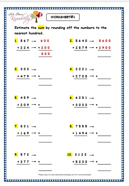 Estimation Maths Worksheets Grade 3 Maths Worksheets Subtraction 4 5 Estimation Of 3