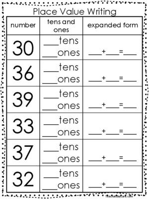 Expanded form Worksheets 1st Grade 10 Place Value Worksheets Writing Tens and Es and