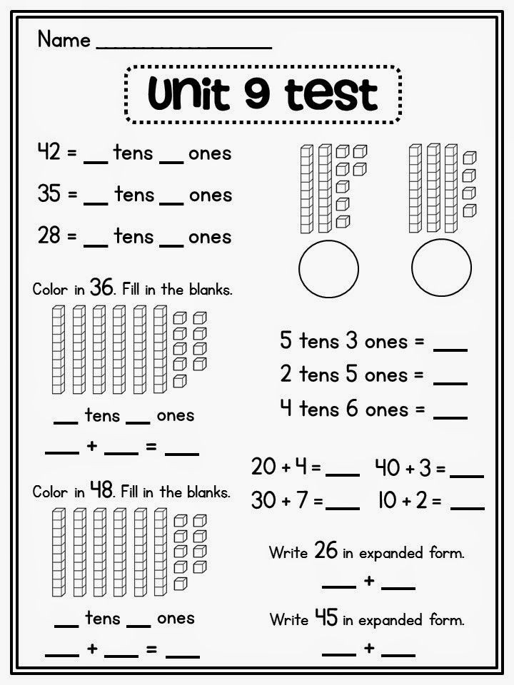 Expanded form Worksheets 1st Grade Place Value In First Grade