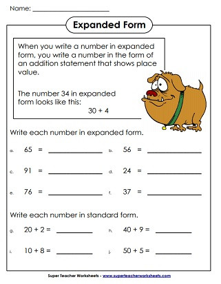 Expanded form Worksheets Second Grade Place Value 2 Digit Numbers