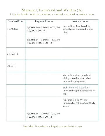 Expanded form Worksheets Second Grade Place Value Worksheets 5th Grade Decimals and Place Value