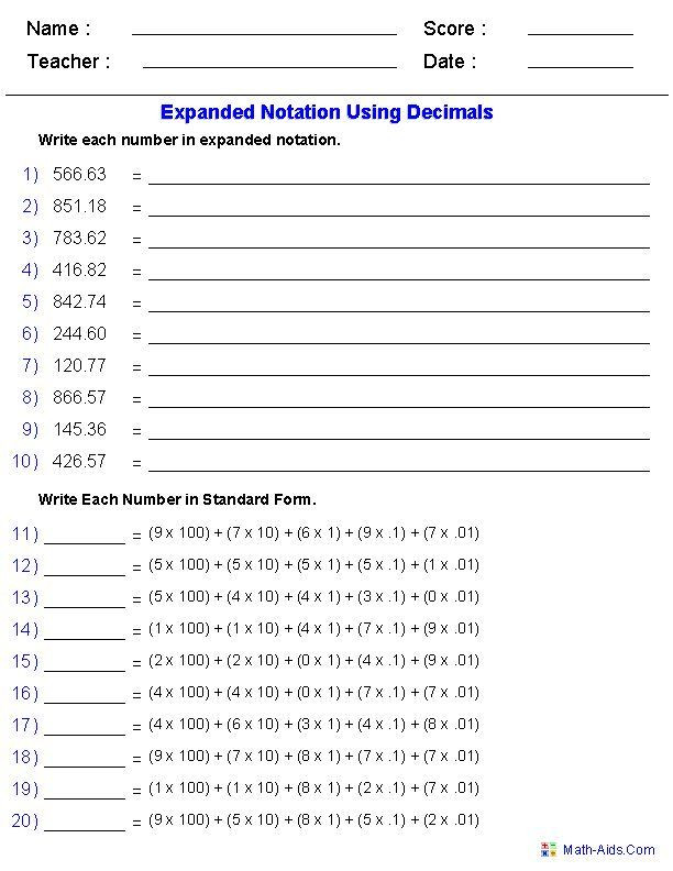 Expanded Notation Worksheets 3rd Grade Expanded Notation Using Decimals Place Value Worksheets