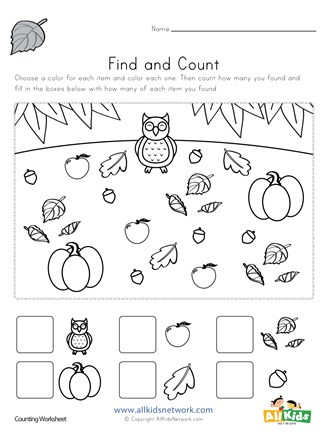 Fall Worksheets for Kindergarten Fall Find and Count Worksheet